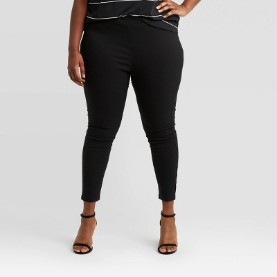 Women's Plus Size High-Rise Skinny Cropped Pants - Who What Wear™ Black