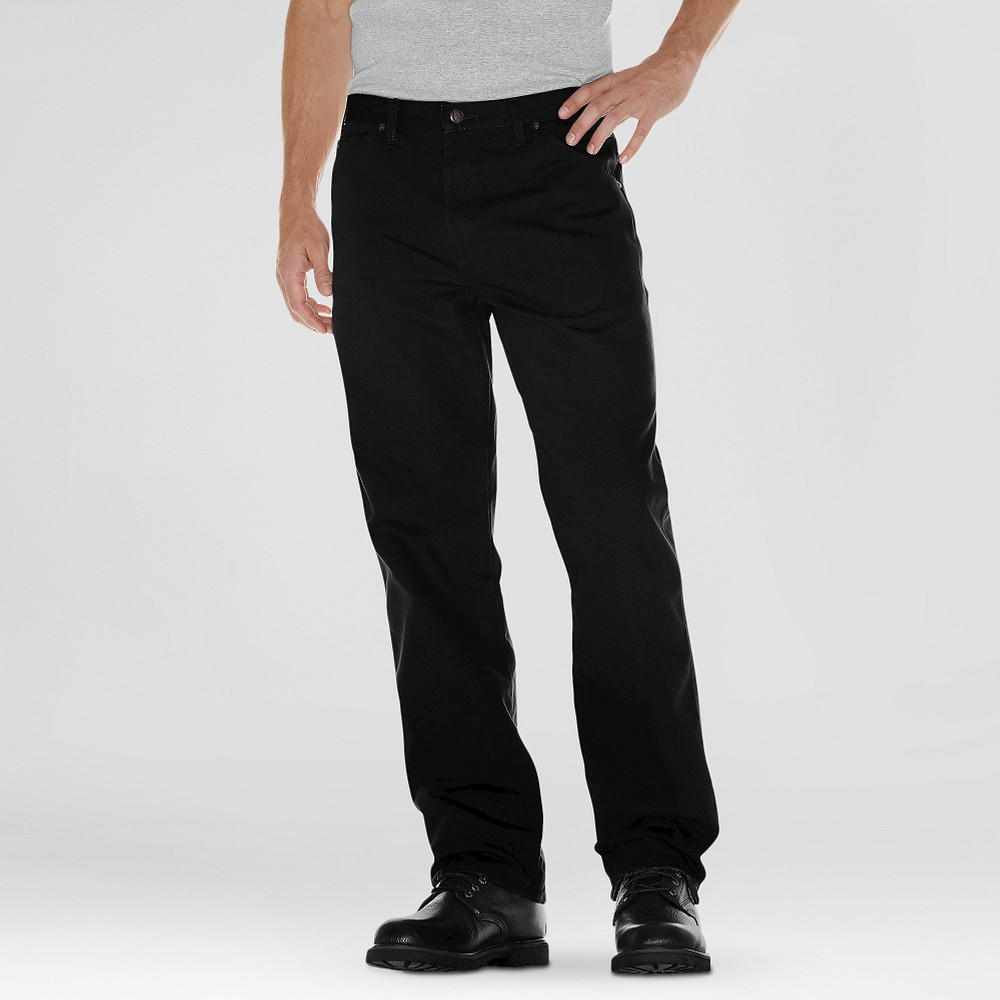 Dickies Men's Relaxed Straight Fit Canvas Duck Carpenter Jeans - Black 42x34