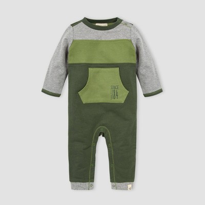 Burt's Bees Baby® Baby Boys' Organic Cotton French Terry Colorblock Jumpsuit - Gray 3M