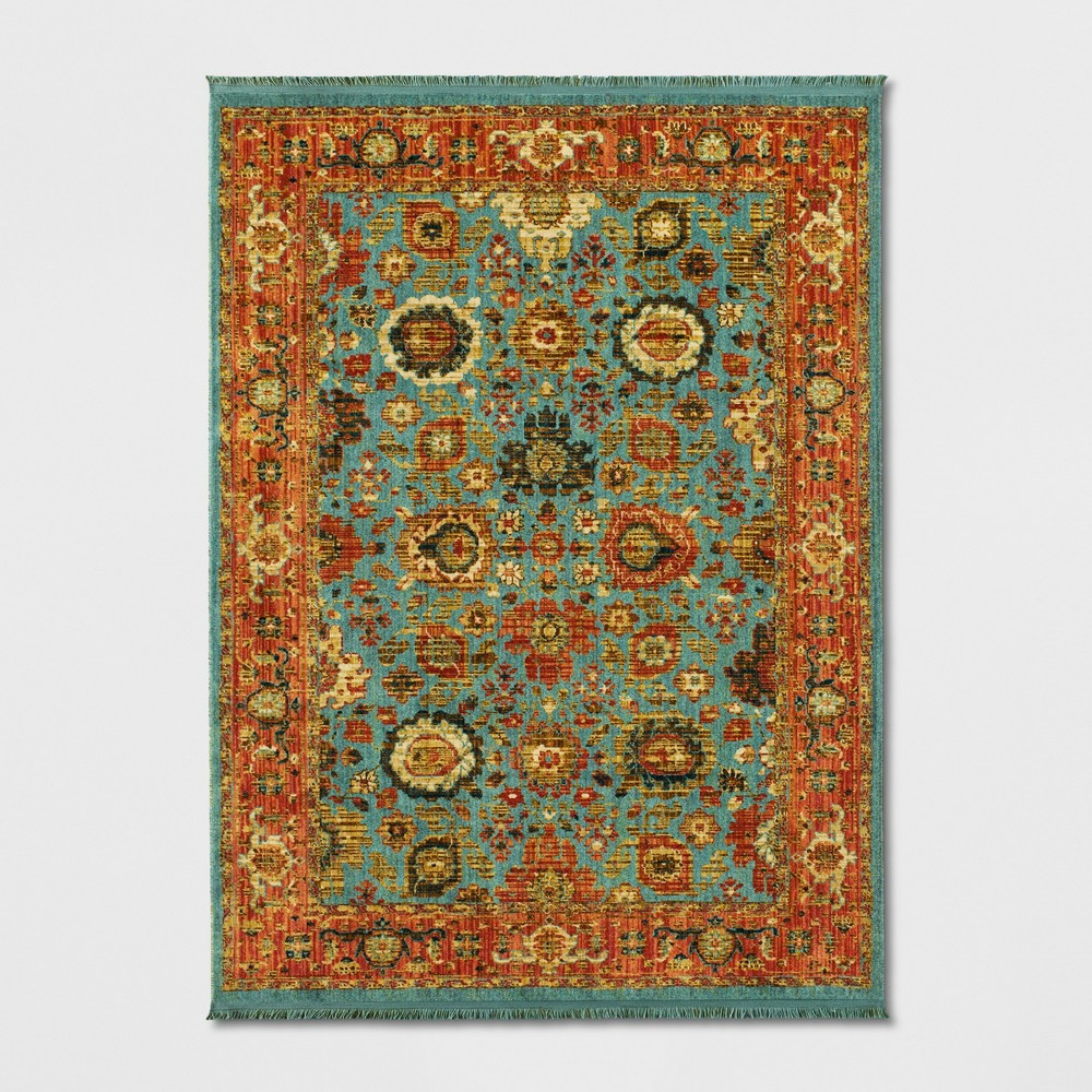 Persian with Fringe Border Woven Area Rug Teal