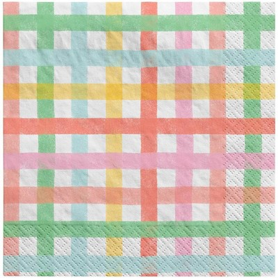 30ct Lunch Easter Napkins Gingham Collection - Spritz™