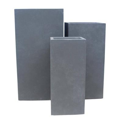 Kante Set of 3 Lightweight Concrete Rectangular Outdoor Planter Charcoal - Rosemead Home & Garden, Inc
