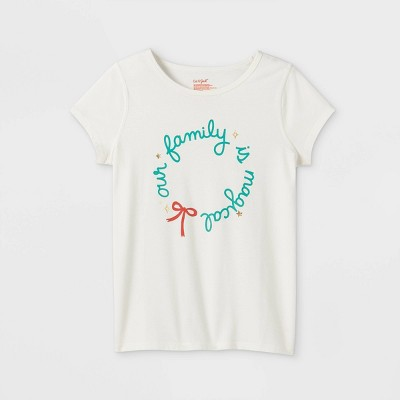 Girls' Adaptive Christmas 'Our Family' Short Sleeve Graphic T-Shirt - Cat & Jack™ Cream