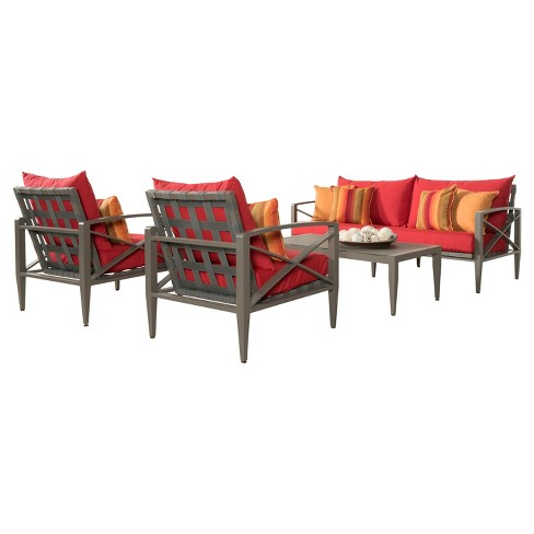 Knoxville 4pc Metal Patio Conversation Set - Taupe/Sunset Red - RST Brands - image 1 of 7