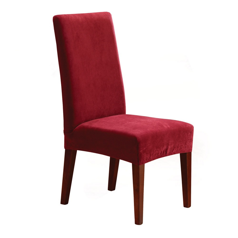 Stretch Pique Short Dining Chair Slipcover - Sure Fit, Red