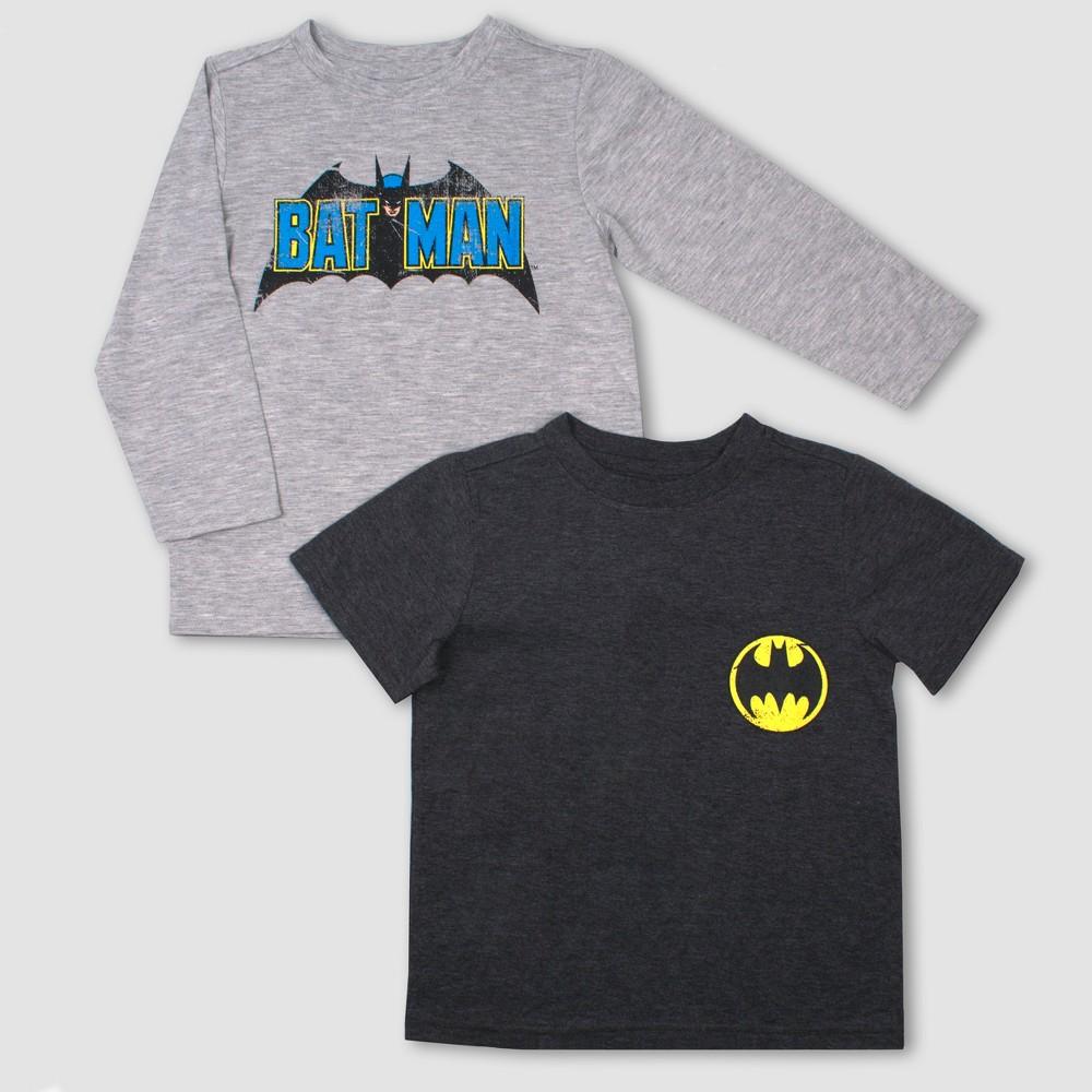 Toddler Boys' 2pk DC Comics Batman Long Sleeve T-Shirt - Gray 3T