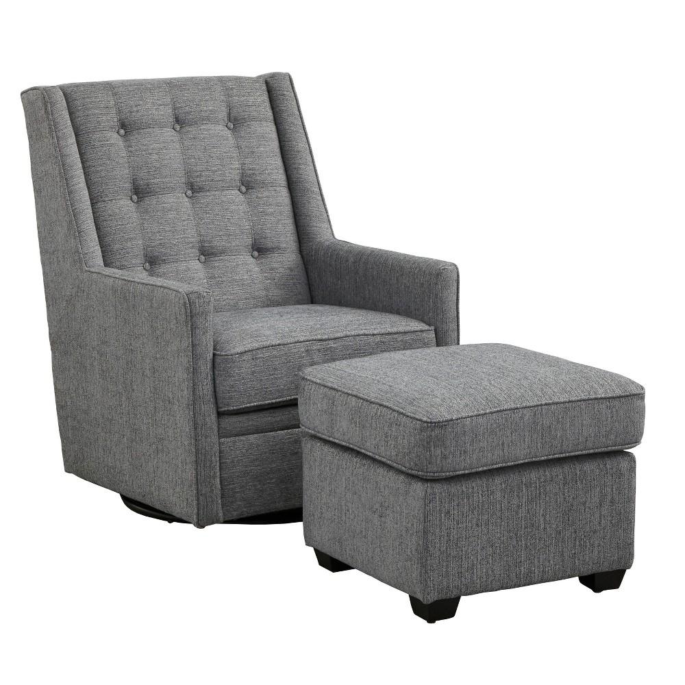 Image of 2pc Lillian Rocking/Swivel Chair and Ottoman Set Gray - Angelo:Home