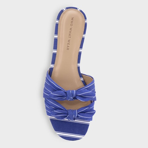 21d7f0cb8 Women s Florence Striped Bow Slide Sandals - Who What Wear™ Blue 7.5    Target