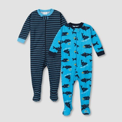 Gerber Baby Boys' 2pk Shark 100% Cotton Footed Unionsuit - Blue 6M