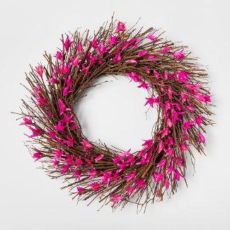 21.2u0022 Dried Twig And Toona Flower Wreath Pink/Brown - Smith & Hawken™