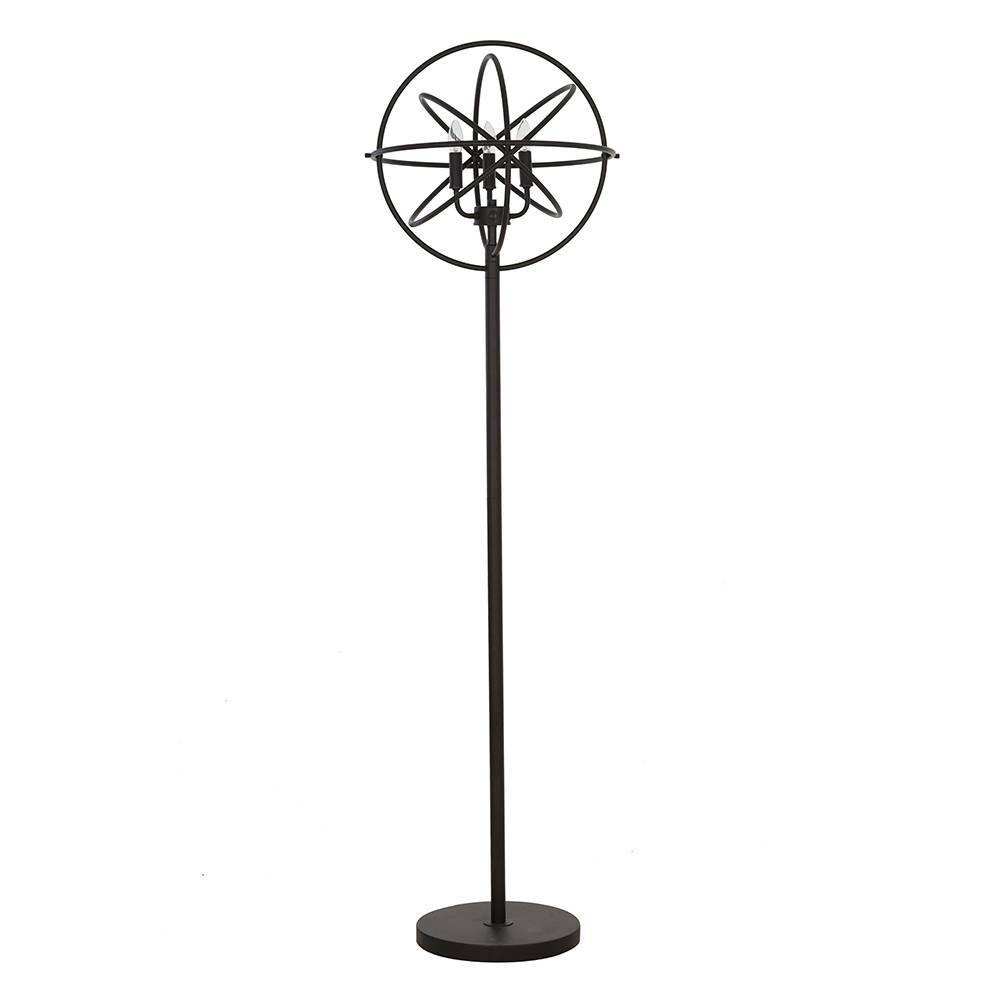Image of Orb Floor Lamp with Clear Glass Beads Black (Lamp Only) - Cresswell Lighting
