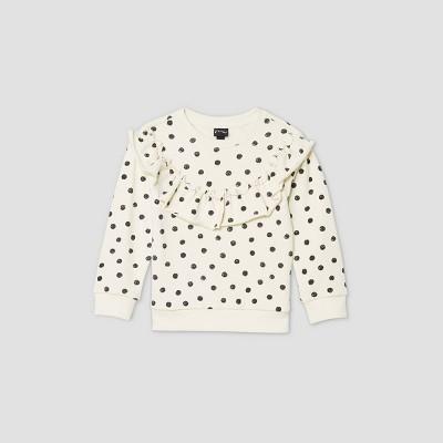 Toddler Girls' Printed Ruffle Sweatshirt - art class™ Black/Cream 12M