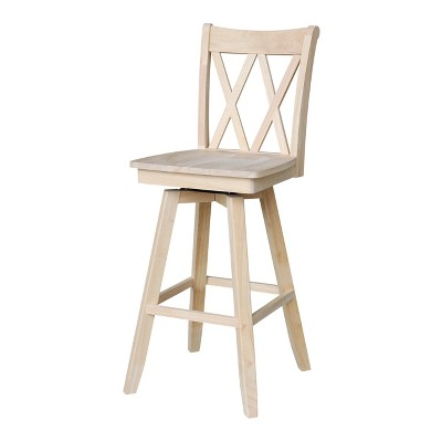 Double X Back Counter Height Barstool with Swivel and Auto Return Unfinished - International Concepts