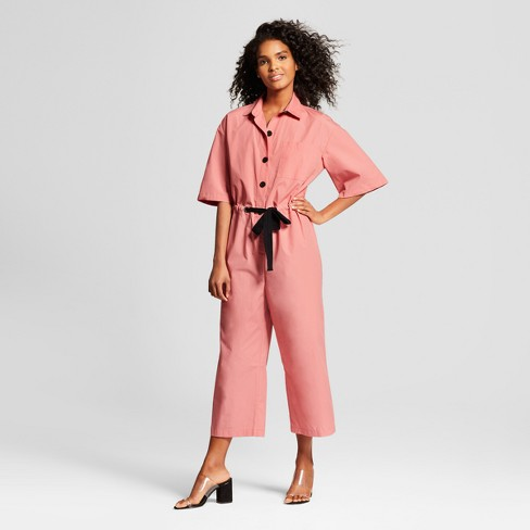 Women's Short Sleeve Belted Jumpsuit - Who What Wear™ Pink - image 1 of 3