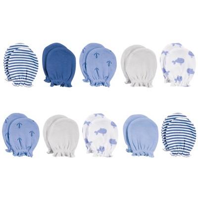 Hudson Baby Infant Boy Cotton Scratch Mittens, Blue Whale, 0-6 Months