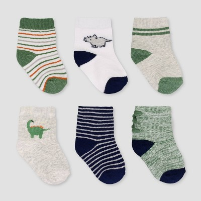 Baby Boys' 6pk Dino Crew Socks - Just One You® made by carter's 0-3M