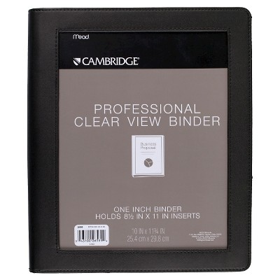 "Cambridge 1"" Professional Clear View 3 Ring Binder Black"