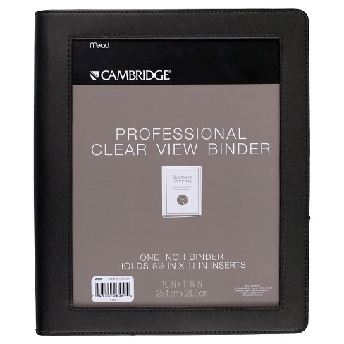 """Cambridge 1"""" Professional Clear View 3 Ring Binder Black - image 1 of 2"""