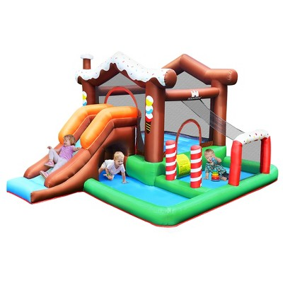 Costway Inflatable Bouncer Snow House Jump ClimbingSlide Ball Pit w/ tunnel & Blower