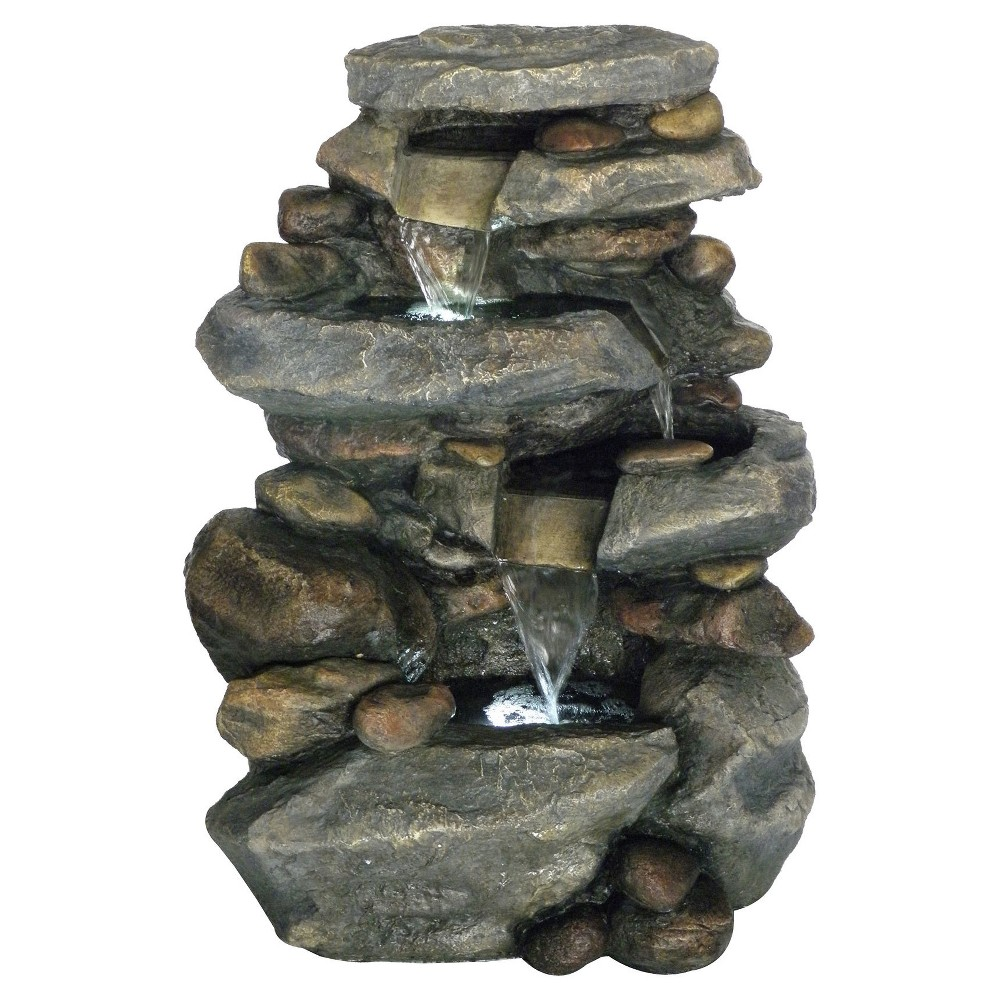 "Image of ""19.4"""" x 15"""" x 25.5"""" Stone Waterfall Outdoor Fountain With LED Lights - Gray - Pure Garden"""