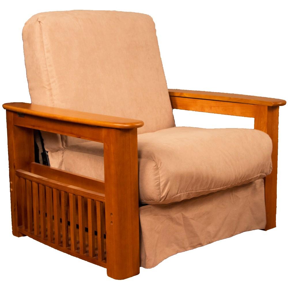 Flip Top Arm Perfect Futon Sofa Sleeper Medium Oak Wood Finish Khaki (Green) - Epic Furnishings