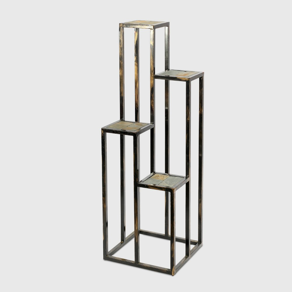 Image of 4 Tier Square Iron Plant Stand Black/Gold - Ore International