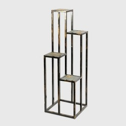 4 Tier Square Iron Plant Stand Black/Gold - Ore International