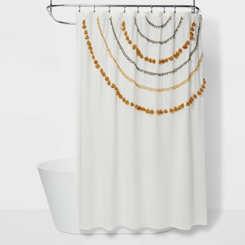 Scalloped Tassels & Pom Poms Shower Curtain Yellow/Gray - Opalhouse™ - image 1 of 3