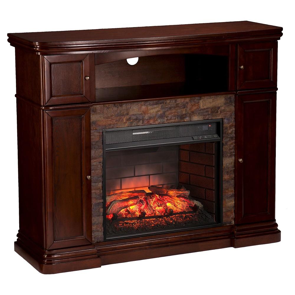Southern Enterprises Houston Faux Stone Infrared Electric Media Fireplace, Espresso Brown