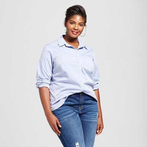 680a91c8fe0 Women s Plus Size Button-Down Dot Shirt - Ava   Viv™ Blue   Target