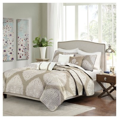 Audra Large Medallion Reversible Quilted Coverlet Set (King/California King)Taupe - 6pc