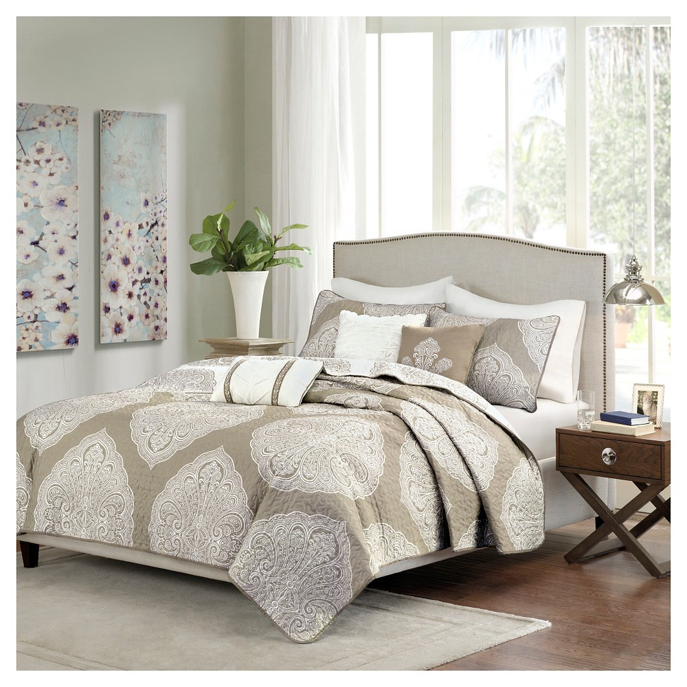 Audra Large Medallion Reversible Quilted Coverlet Set (Full/Queen) Taupe (Brown) - 6pc