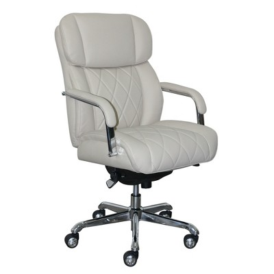 Sutherland Quilted Leather Office Chair with Padded Arms - La-Z-Boy