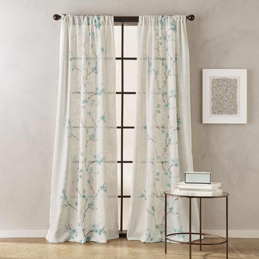 84 Michiko Poletop Curtain Panel Aqua (Blue)