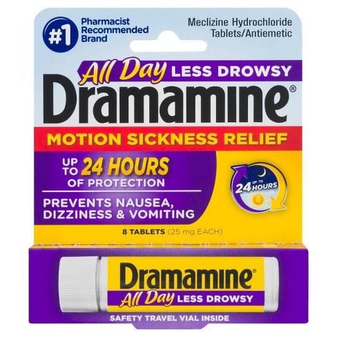 Dramamine All Day Less Drowsy Motion Sickness Relief Tablets - 8ct - image 1 of 7
