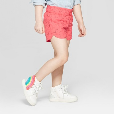 Toddler Girls' Eyelet Woven Fashion Shorts - Cat & Jack™ Orange 12M