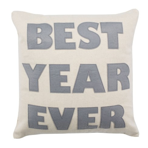 Best Year Ever Square Throw Pillow Beige/Silver - Safavieh - image 1 of 3