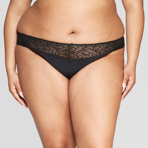 219ac5bd7b6 Women s Plus Size Micro Thong With Lace Waistband - Auden™ Black 1X ...