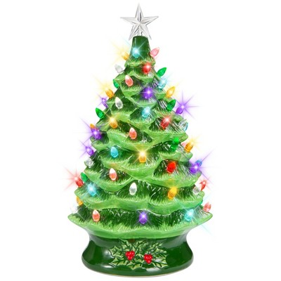 Best Choice Products 24in X-Large Pre-Lit Ceramic Christmas Tree Battery-Powered Decoration w/ LED Light, Timer - Green