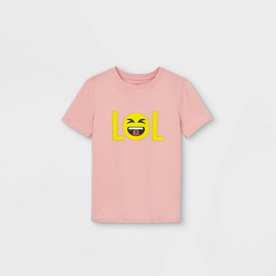 Boys' Short Sleeve LOL Emoji Graphic T-Shirt - Cat & Jack™ Pink