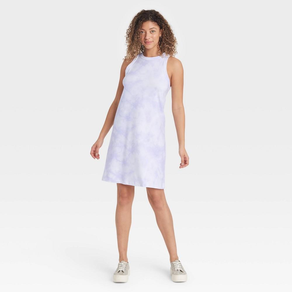 Women 39 S Tie Dye Knit Tank Dress A New Day 8482 Purple White M