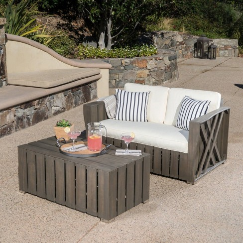 Cadence 2pc Acacia Wood Patio Loveseat & Coffee Table Set - Gray/Creme - Christopher Knight Home - image 1 of 4