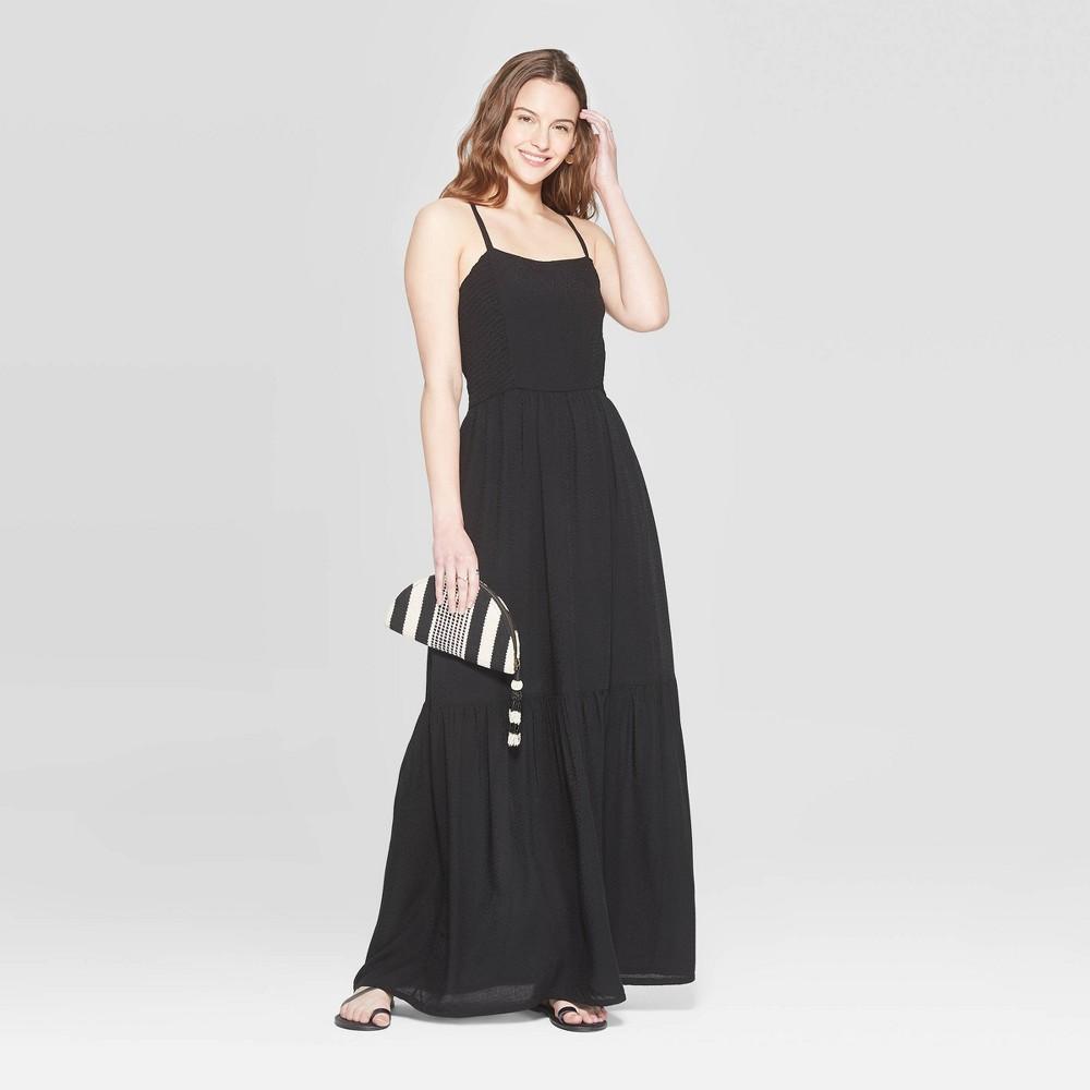 Best Online Women Sleeveless Square Neck Tiered Maxi Dress Universal Thread Black XS