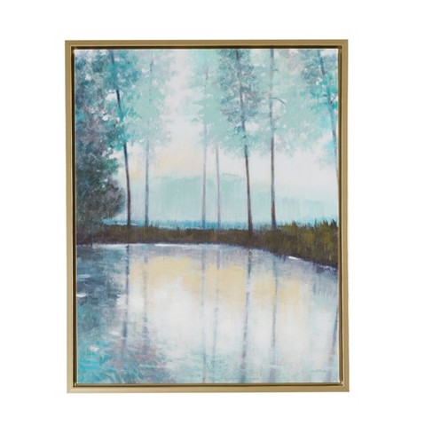"Serene Setting Hand Embellished Canvas with Frame Green 29.6""x23.6"" - image 1 of 6"