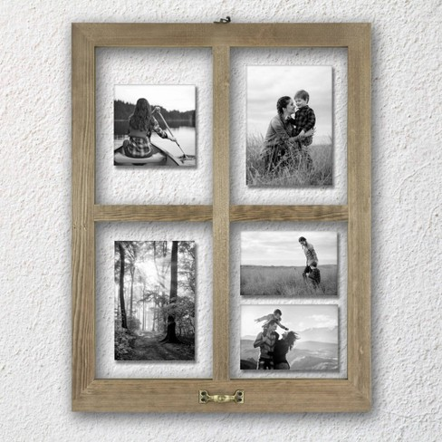 4 Opening Windowpane Collage Frame Weathered Wood - image 1 of 3