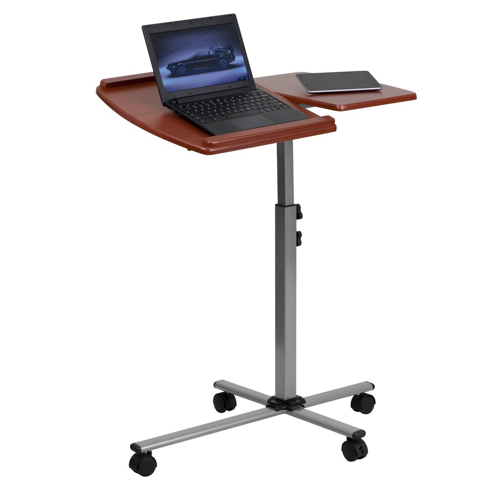 Image of Angle and Height Adjustable Mobile Laptop Computer Table Cherry Top - Flash Furniture, Red
