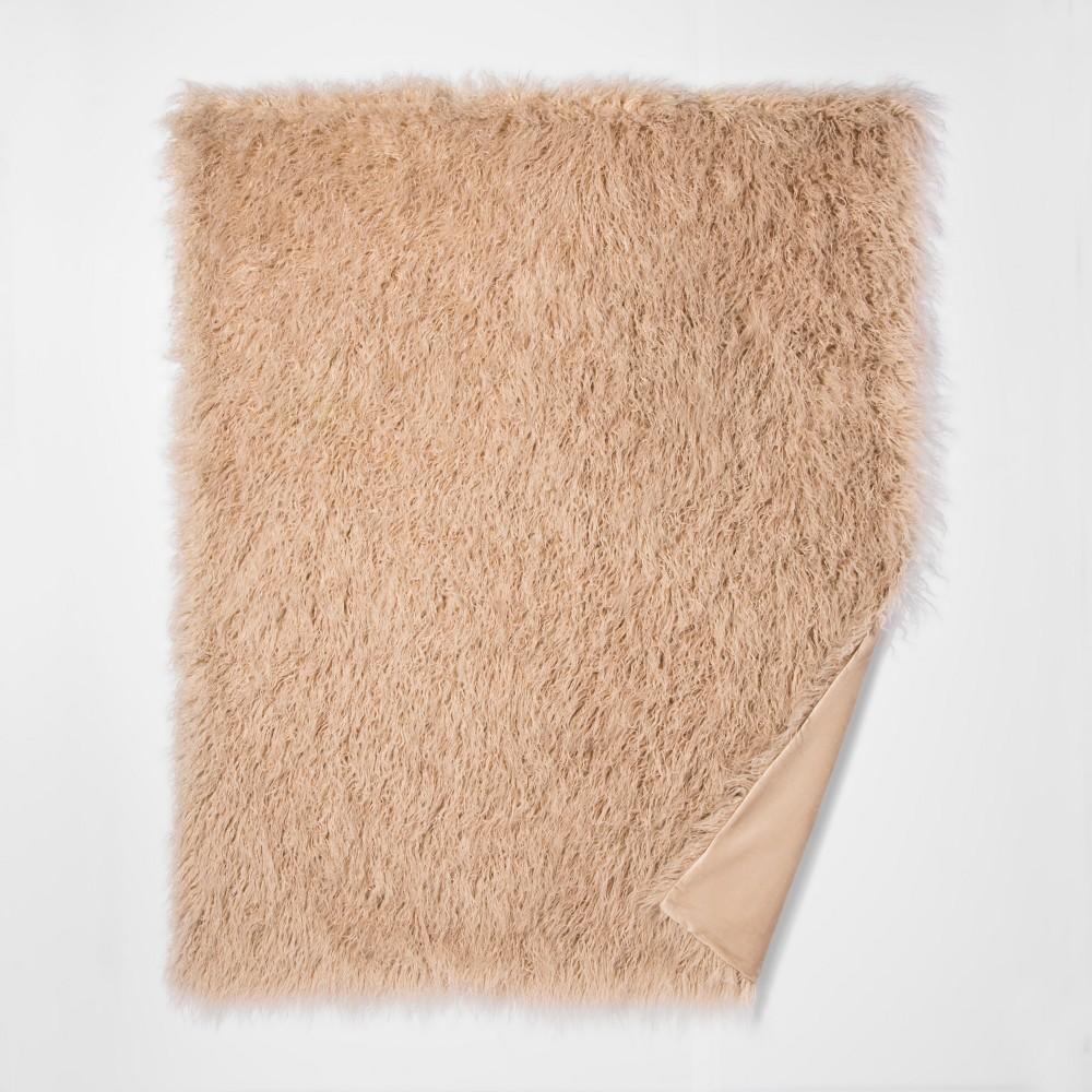 Tan Mongolian Faux Fur Throw Blanket 50