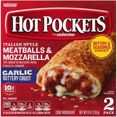 Hot Pockets Garlic Buttery Crust Frozen Italian Meatballs & Mozzarella - 9oz/2ct