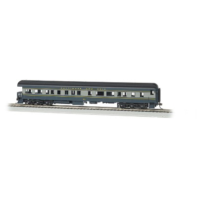 Bachmann Trains 13803 HO Scale Baltimore & Ohio #130 72 Foot Heavyweight Observation, Gray, Lighted Interior, Metal Wheels, Die-cast Trucks