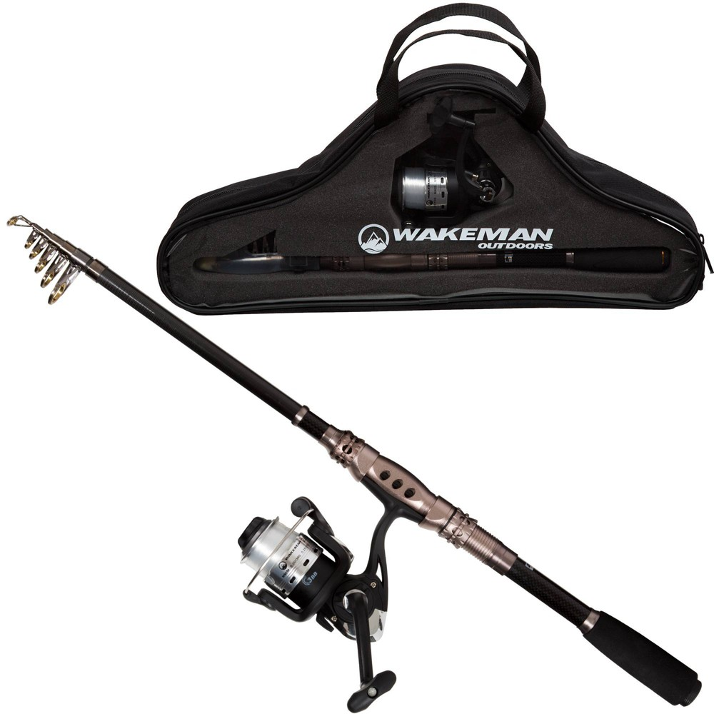 Image of Wakeman Fishing Rod and Reel Combo - Black/Bronze